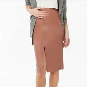 Forever 21 Faux Leather Topstitched Pencil Skirt S
